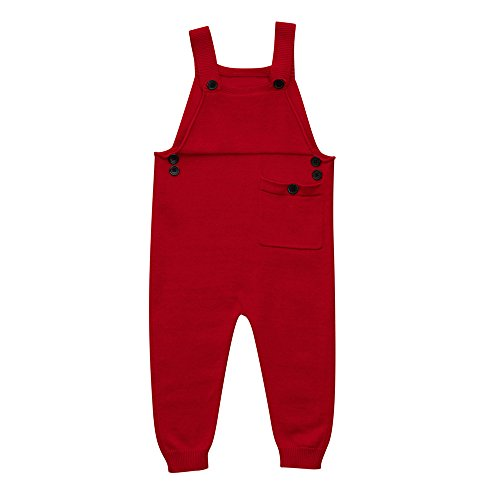 Zerototens Girl Dungarees For 0-5 Years Old Kids,Toddler Kids Baby Boys Girls Knitted Overalls Strap Rompers Jumpsuit Outfits Casual Holiday Outwear (0-1 Years Old, Red)