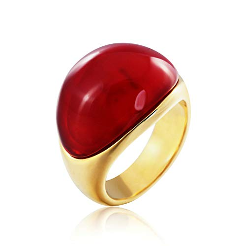 Aienid Herrenring Edelstahl Rot Retro Opal Ring Herren Size:54 (17.2) (Opal-irish Ring)