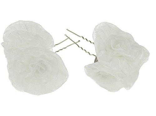 Mesdames Paire de 2 Blanc en mousseline de soie floral rose demoiselle d'honneur de mariée épingles à cheveux