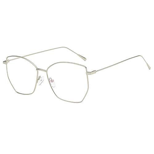 KUDICO Unisex Brillen Retro Glasrahmen Ebenenspiegel Dekobrille Metall Frame Klassisches Unregelmäßig Rahmen Glasses Klare Linse Brille(A, One Size)