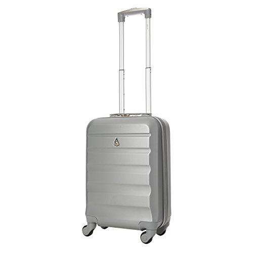 Aerolite Leichtgewicht ABS Hartschale 4 Rollen Handgepäck Trolley Koffer Bordgepäck Kabinentrolley Reisekoffer Gepäck, Genehmigt für Ryanair, easyJet, Lufthansa, Jet2 und viele mehr, Silber - 4