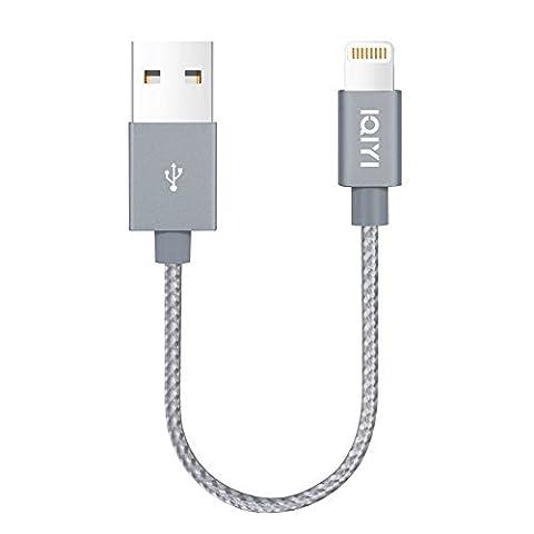 Câble iPhone [MFI certifié Apple] IQIYI Nylon Câble Lightning vers USB 0.15M- Ultra Compact Tête en Aluminium Connecteur Câble téléphone pour iPhone 7 / 7 Plus / 6s / 6s Plus / 6 / 6 Plus / 5C / 5S / 5 / SE, iPad Mini, Air , iPad Pro ,iPod Touch(Gris)