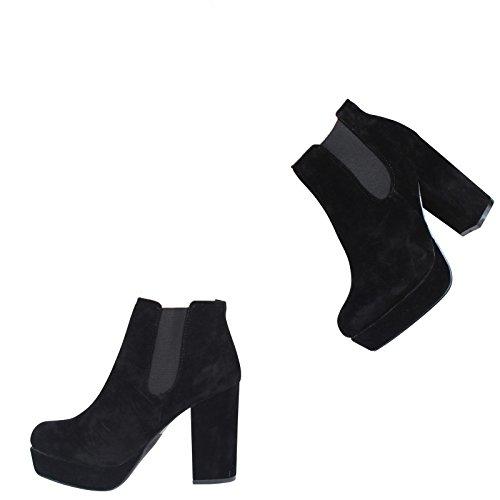 Neue Damen High Heel Plattform Slip On Chelsea Knöchel Boots Schuhe Größe 3–8 schwarze Velourslederoptik
