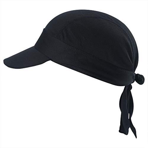 Arcweg Bandana Cap Kopftuch Mit Schirm Atmungsaktiv Pirat Kappe UV Schutz Verstellbar Bikertuch Radsport Mützen Schnelltrockned Schwarz