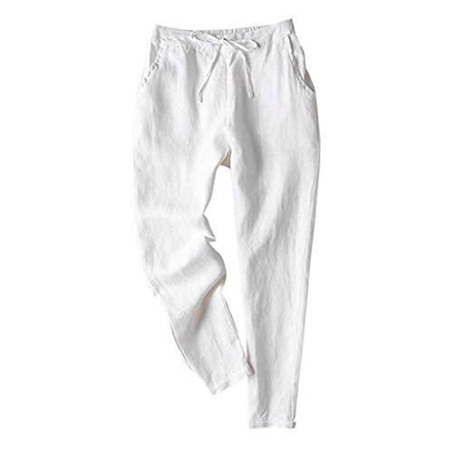 routinfly Damen Haremshose Freizeithose,Mode Frauen Schnürung Sport Leinen Einfache Beiläufige Lose Pluderhosen Einfarbige Freizeithose S-XXL Control-fit-jeans