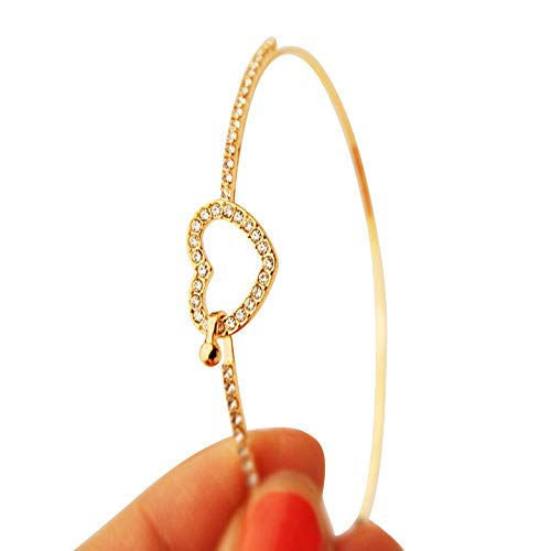 LINSINCH Armband Fashion Stil Gold Strass Liebe Herz Armreif Manschette Elegant Schmuck Schöne Accessoires