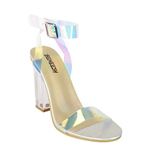 BeMeesh Frauen Damen Plexiglas High Heels Transparente Schuhe Sandale mit offenem Zehenbereich