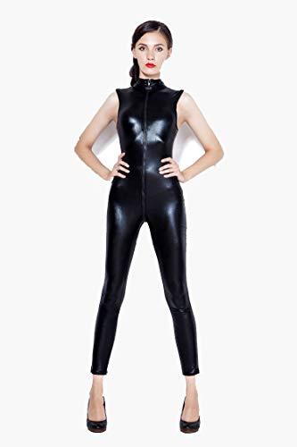 FUNFSEX Wetlook Vinyl Leder ärmellose Jumpsuit Elastische Schwarze PU Ganzkörper Body Playsuit Sexy Nachtclub Kostüm, Black