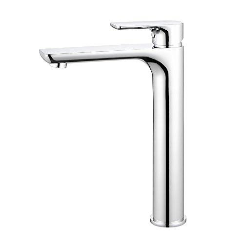 ubeegol Messing Chrom Wasserhahn Bad Hoch Waschtischarmatur Hoher Auslauf Armatur Aufsatzwaschbecken Mischbatterie Einhebelmischer Badarmatur