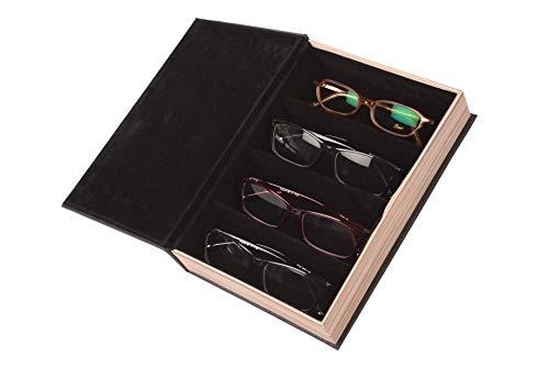 Fleur Royale Brillenbox Mehrbrillenetui mit Magnetverschluss Brillenbuch Forest für 4 Brillen in Holzoptik 240x67x47mm (schwarz) robust & edel