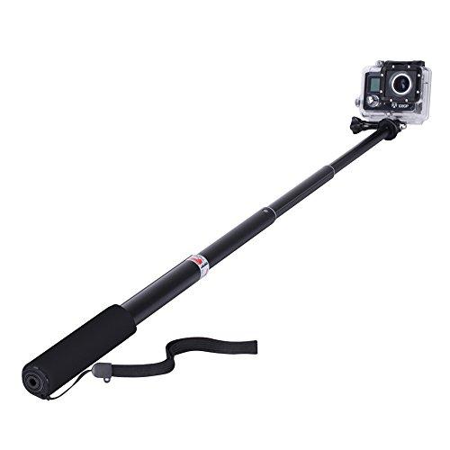 GHB Bastone Selfie per Gopro Asta Selfie Stick Telescopico Palo di Estensione con Monopiede Pole per GoPro Hero 4/3+/3/2 SJ4000 SJ5000 Sony Action Cam Macchine fotografiche ecc - Nero