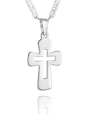 fish - Jungen, Mädchen-Silberkette 925 Sterlingsilber Kreuz Anhänger