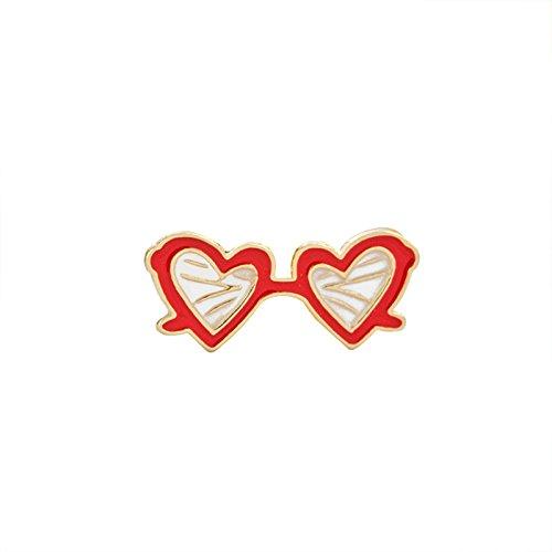 Aooaz Damen Mädchen Kinder Cartoon Emaille Brosche Anstecker Tasche Kragen Sonnenbrille Herz Rosa