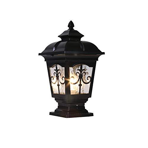 ZHANG NAN ● Post Poller E27 Traditionelle Schwarze IP55 Outdoor Gartenlampe Laterne Licht Decking Patio Pathway Säule Laterne Licht Wasserlinie Glas (Farbe: Schwarz-Höhe 44 cm) ● -