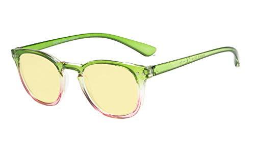 Eyekepper Blue Light Blocking-Computerbrille Digital Eye Strain Prevention-Lesebrille mit gelb getönten Gläsern (Grün-Rosa-Rahmen, 4.00)