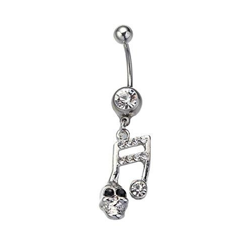 Daesar Körper Nabel Ring Silber Bauchnabelpiercing Musikalische Symbole Schädel mit Weiß Zirkonia Bauchnabel Nabelpiercing Bauch Ring