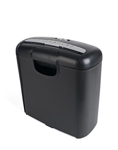 Pavo 8008506 Premium Aktenvernichter bis zu 6 Blatt, Streifenschnitt, Kreditkart-Schredder inklusive Papierkorb, 10 L, schwarz