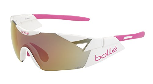 Bollé 6th Sense S - Gafas de sol deportivas, color blanco brillante / rosa
