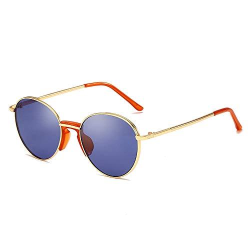 Easy Go Shopping Metall runden Rahmen Männer und Frauen Trend Street Beat Sonnenbrille Retro Sonnenbrille Sonnenbrillen und Flacher Spiegel (Color : Blau, Size : Kostenlos)
