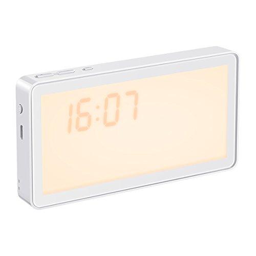 Oria wake up light, LED Lichtwecker mit Sonnenaufgang Simulation, 8 Naturklänge, Ideal für Zuhause, Camping, Reisen, etc - Warmweiß