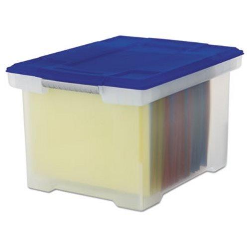 Sac en plastique fichier Boîte de rangement, lettre/juridique, à couvercle, transparent/bleu