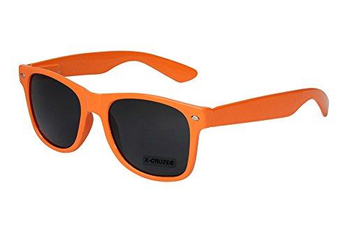 X-CRUZE® 8-010 X0 Nerd Sonnenbrille Retro Vintage Design Style Stil Unisex Herren Damen Männer Frauen Brille Nerdbrille - orange