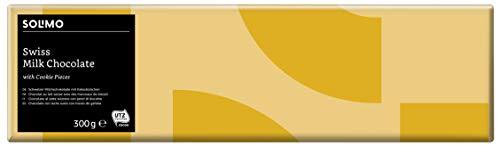 Marchio Amazon -   Solimo Cioccolato al latte svizzero con pezzi di biscotto 1,2 kg (4 tavolette da 300g)