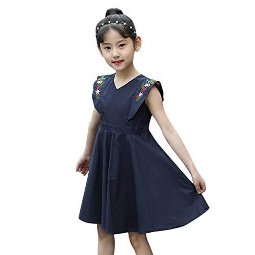 Besticktes Zeremonie-Kleid für Babys und Mädchen, V-Ausschnitt, hohe Taille, Ballkleid, Hochzeit, Geburtstag, Party Toponly 100(3-4 Years) marineblau