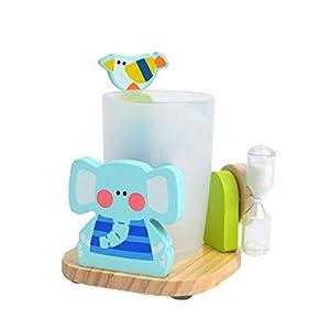TrifyCore Entzückende Zahnpasta Zahnbürstenhalter Stand mit Cup und 3 Minuten Sandborduhr Saugfuß aus Holz Badezimmer Aufsatz- Halter für Kinder Multicolor Elefanten Stil 1PC