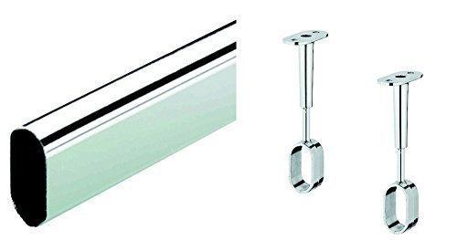 Preisvergleich Produktbild Möbelrohr OVAL Schrankstange Kleiderstange 1200 mm inkl. 2 Stk. Schrankrohrlager für Deckenmontage / Stahl verchromt / Schrankrohr 30 x 15 mm / Möbelbeschläge von GedoTec®