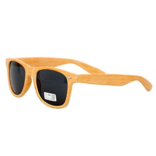 Freak Scene Wayfarer Sonnenbrille Holz-Stil Kultbrille ° Klassiker Brille ° Farbe: braun-hell
