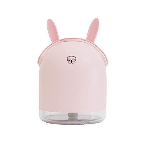 Amuse-MIUMIU USB Mini Luftbefeuchter, LED Aroma Luftbefeuchter Ätherisches Öl Diffusor Aromatherapie Luftreiniger, Winter Exklusiv Luftbefeuchtung für Büro, Schlafzimmer, Auto, Yoga (Rosa)