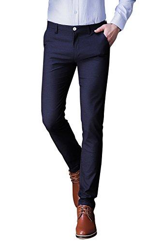 Mens Fashion Herren Hose Anzughose Männer lange Freizeithose Herren Slim Casual Herrenhose Business Hose Pants Wrinkle Free, elastisch und pflegeleicht,063#Blau,DE Größe 28(Tabelle 30) (Hoch Taille Steigen)