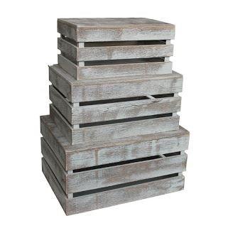 Conjunto de 3 listones de la vendimia caja de madera