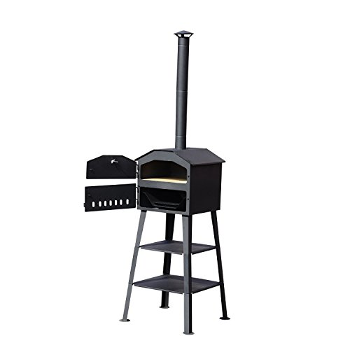 Outsunny New Patio Outdoor Garden Pizza Oven BBQ Barbecue Grill Maker Heating Heat Smoker - Black