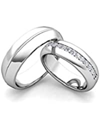 Silverish Forever Love Matching Ring For Him And Her Alloy Cubic Zirconia Rhodium Plated Ring Set - B07CKM5R64