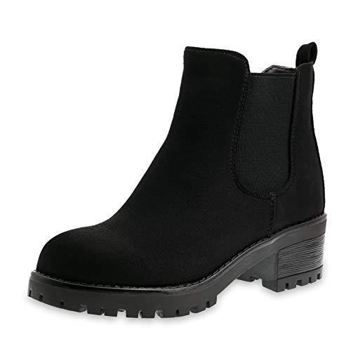 Marimo Damen Stiefeletten Chelsea Ankle Boots Wildlederoptik Blockabsatz Profilsohle Plateau Schwarz 37