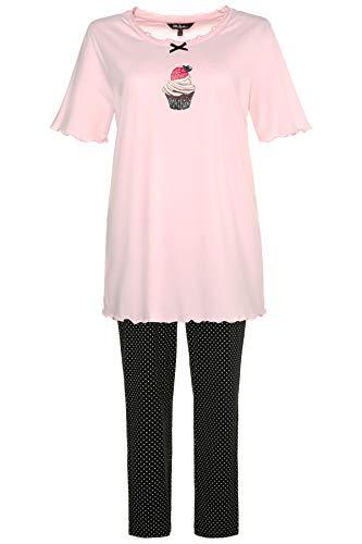 Ulla Popken Große Größen Damen Zweiteiliger Schlafanzug Pyjama, Cupcake, Pink (Rose 56), 52 (Herstellergröße: 50+)