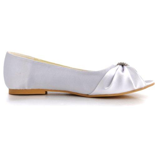 Elegantpark EP2053 Bout Ouvert Satin Strass Femme Plates Chaussures de Mariage Blanc