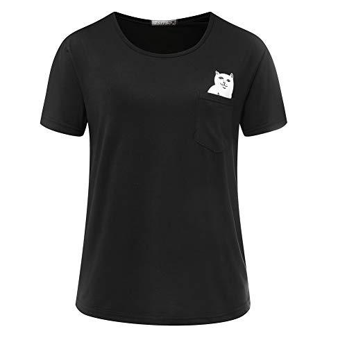 TYML Mittelfinger Katze Tasche T Hemd Frauen Vegan Rose T Top Kleidung (Röcken Halloween-kostüme Mit)