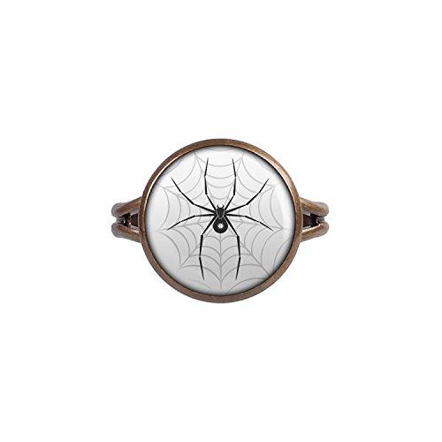 Ohrringe Itsy Bitsy (Mylery Ring mit Motiv Schwarze Spinne Stern Netz bronze 14mm)