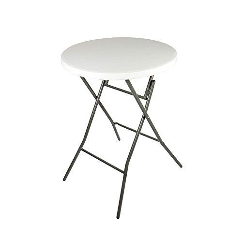 Vanage Gartentisch klappbar in weiß - runder Bistrotisch / Stehtisch für Garten, Terrasse und Balkon - 80 x 80 x 110 cm