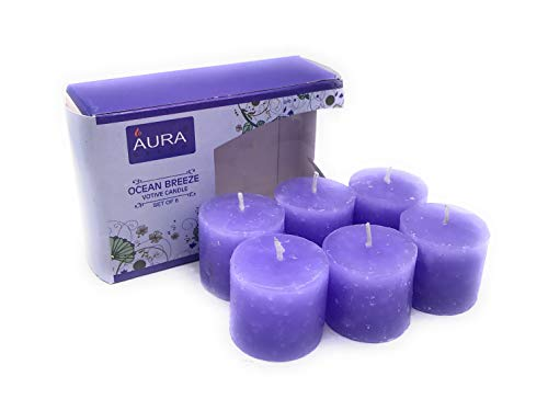 Auradecor Set of 6 Ocean Breeze Fragrance Votive Candles, Burning Time Approx 5 Hours Each