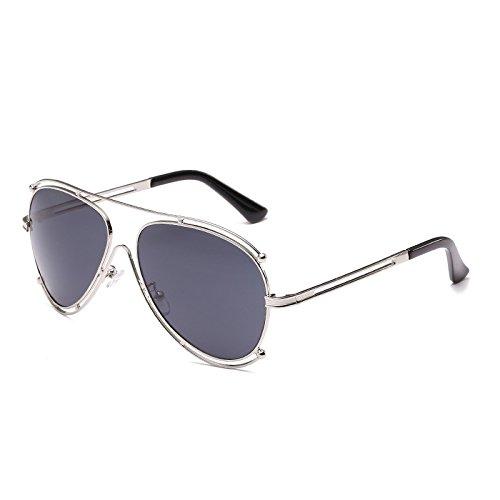 SUNGLASSES Metallrahmen Objektiv Spiegel Rahmen Männer und Frauen Die gleichen Absatz Sonnenbrillen Doppelring Farbe Film Sonnenbrille (Farbe : Silber)