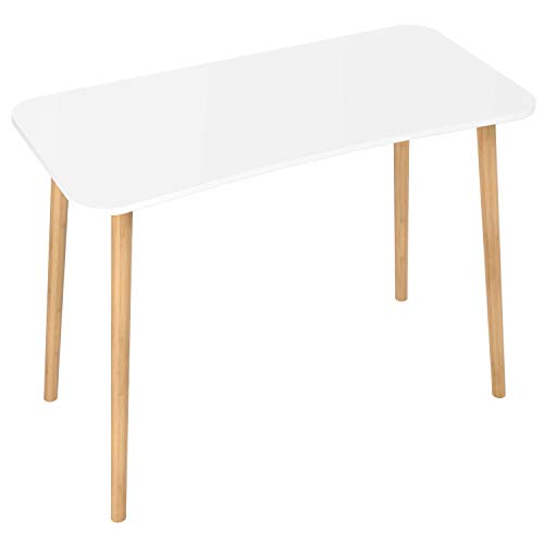 Homfa Bureau d'Ordinateur Table de Bureau Table d'Ordinateur Bureau Informatique pour Salon Chambre Bureau en Bois et Bambou 100×50×75cm (Blanc)