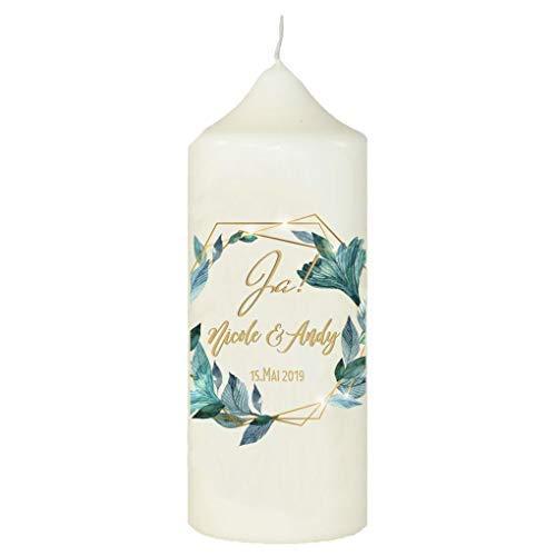 sign Kerze zur Hochzeit mit eigenem Namen und Datum, Ranken, Weiß ()
