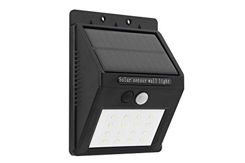 Mabor Lampe Lumière Solaire 16 LED Silicium Panneau Solaire Etanche Éclairage de Sécurité Motion Sensor-Détecteur Activé Sans Fil Led Avec Détecteur de Mouvement pour Extérieures comme un Patio, Pont, Jardin, Allée et Garage - Noir
