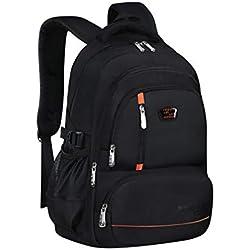BAACD Cartable étudiant sac à dos garçon fille 8-12-18 ans enfant adolescent noir collégien voyage de plein air léger imperméable sac à dos cartable orange-one