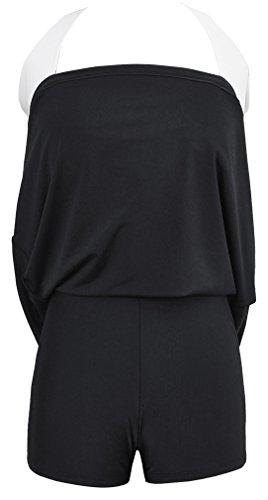 Bettydom Damen Neckholder Push Up Badekleid Einteiler mit Röckchen Effekt Schwimmanzug Figurformender Badeanzug mit Hotpants Frauen Bademode 3 Schwarz Streifen