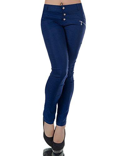 N012 Damen Hose Treggings Jeggings Stoffhose Freitzeithose Röhrenhose Leggings , Farben:Dunkelblau;Größen:42 (XL)